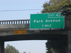 State Highway Junction Route CA-1 Southbound Cabrillo Highway approaching 1 mile to Exit 436 - Park Avenue with this overhead sign located at Capitola Avenue overpass bridge (vertical clearance height limit 14 feet 7 inches - 4.6 meters)