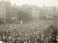"""""""Large crowd gathered in unidentified city area"""""""