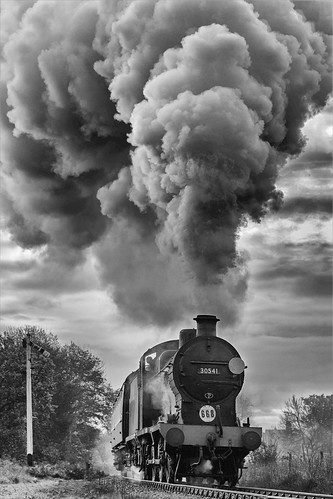 Q Class locomotive at full blast in the Sussex countryside