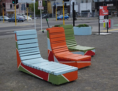 Painted Wooden Benches