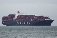 """Yang Ming container ship """"YM MILESTONE"""" waits its turn at Oakland, California DSC_0789"""