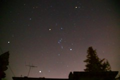 Constellation Orion, out of focus, spreading out the different colors of the stars DSC_0587