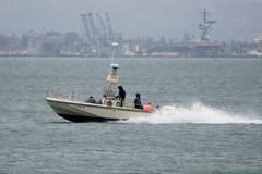 Outboard Launch with radar patrols San Francisco Bay. Former Alameda NAS in background. DSC_0815