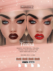 """Teresa 2 Head Make-up Velvet & Dark Night Make-up & Lips Textures JPG 4 CHKN Limited to 1 client"""" Include Master Resell right"""
