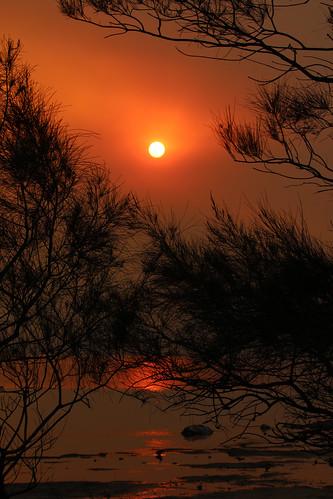 Bush fire smoke sunset, Lake Illawarra