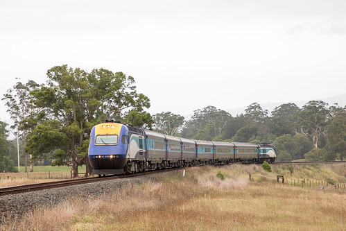 NSW Trains XPT NT32 to Sydney passing thru Nana Glen north of Coffs Harbour