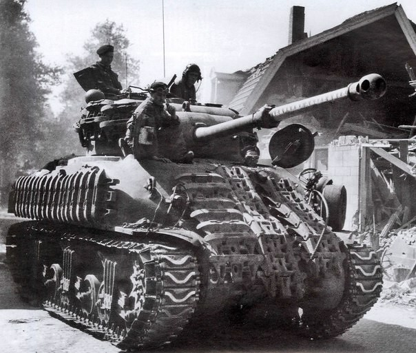 "gruene-teufel: bmashina: British ""Sherman Firefly"" is trying to pretend to be normal ""Sherman"" German doctrine on the Western Front instructed Panzer crewmen and anti-tank gunners to neutralize the Firefly in a British armored unit first, so this is the F"