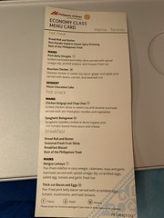 MNL-YYZ Economy Class Menu Card