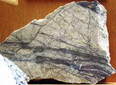 Molybdenite-quartz hydrothermal veins (Mount Emmons Molybdenum Deposit, Early Miocene, 17-18 Ma; Keystone Mine, west of Crested Butte, Colorado, USA) 1