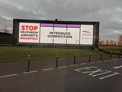 Stop Heathrow's Monopoly billboard, Heathrow Airport, Hounslow, London, UK