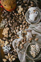 Almonds, hazelnuts,nuts and cookie from above