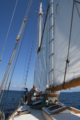 Lowereing the Sail Aboard the Schooner Huron Jewel