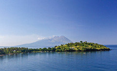 Landscape view with Sengeang volcano in Sumbawa, Indonesia