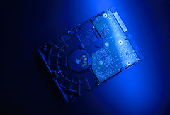 Closeup hard drive with blue light ambient