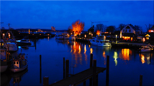 The port of Niendorf on the Baltic Sea at the blue hour