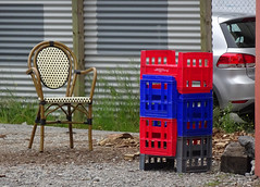 Stylish Chair with Plastic Crates