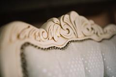 White wooden chair frame closeup