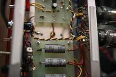 A close up of an amplifiers electronics