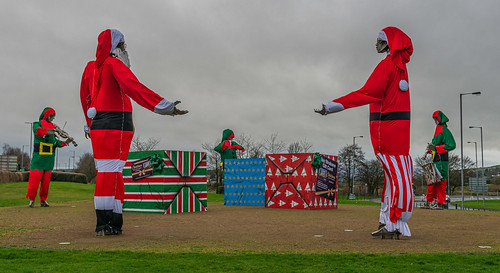 'Let The Dance Begin' (otherwise known as 'The Tinnies') in their Christmas 2019 clothing, Lifford Road, Strabane, Co Tyrone, N. Ireland