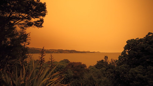 Whangarei harbour(NZ) with a very smoky sky from the Ausy bush fires.