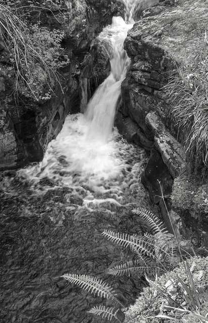 Waterfall, Gynack Burn above Kingussie, Cairngorms National Park, Highland, Scotland, UK