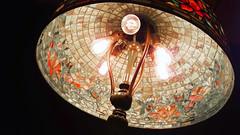 oriental poppy table lamp interior detail - Tiffany Studios