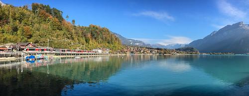 Beautiful lake at sunset in Brienz, Switzerland