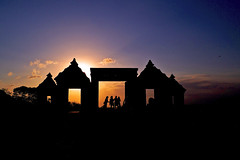 Sunset at Ratu Boko temple in Java, Indonesia