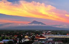 Sunrise with a view on Merapi volcano in Yogyakarta, Indonesia
