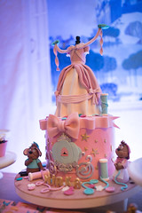 Handmade toys cake on a display