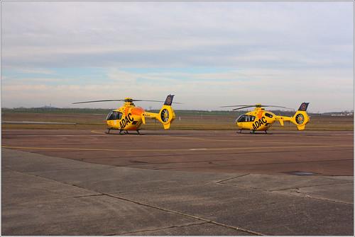2x Eurocopter EC135 P2 ADAC Luftrettung GmbH (D-HWFH) on airfield Halle-Oppin (EDAQ)
