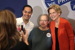 Julian Castro & Elizabeth Warren with supporter
