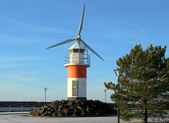 The lighthouse and wind farm