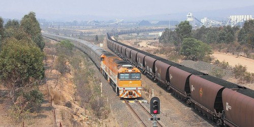 NR31 & NR30 'GREAT SOUTHERN' PASSING ULAN COAL MINING OPERATION. 12th Jan 2020
