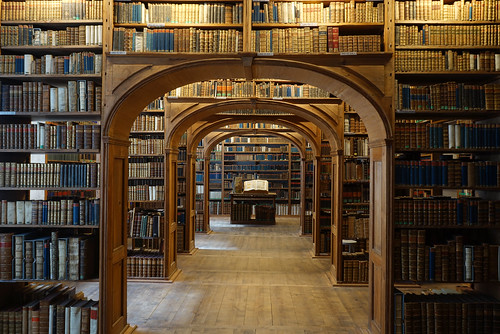 old library with many vintage books