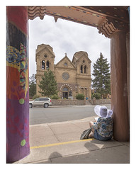 Santa Fe NM – The Cathedral Basilica of St. Francis of Assisi view from the Museum of Contemporary Native Arts
