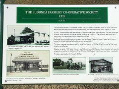 Parrakie. INformation board on history of Eudunda Farmers store in Parrakie. Store opened 1909. Rebuilt 1911. New store built around 1960 after 1957 fire.