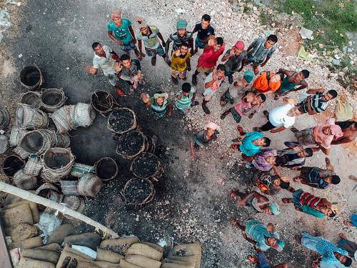 Stevedores Waving at Drone, Dhaka Bangladesh