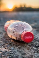 Weggeworfene Plastikflasche auf dem Boden.dng