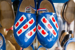 Dutch souvenirs: Blue and white wooden shoes with red hearts