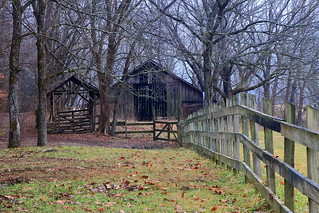 Old Edgmon Barn and Scales Shed (~ 1920) - South End of Boxley Valley, Northwest Arkansas