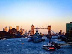 Tower bridge and life on Thames. London