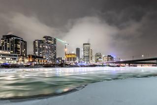 Walking on ice cityscape