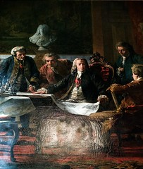 Marquês de Pombal and his coworkers studying Lisbon reconstruction plans after the earthquake -  Miguel Ângelo Lupi (1826 - 1883)