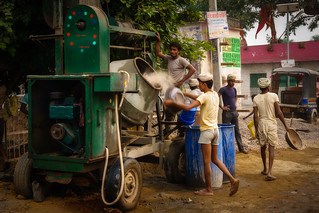 Feeding the cement mixer