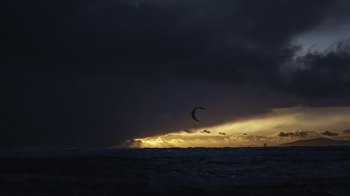 Kitesurfing into a storm