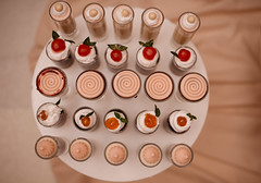 Different types of cupcakes on display shot from above