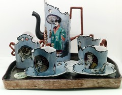 "Tray, coffee pot, sugar bowl and cup of milk: ""Coffe tête-à-tête service"" (Paris, 1982) - Rafael Bordalo Pinheiro (1846-1945)"