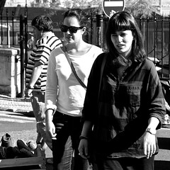 Two tourists girls shopping