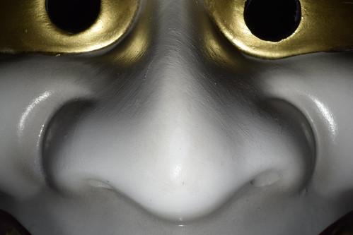Face details, Japanese Oni (demon) ceramic mask